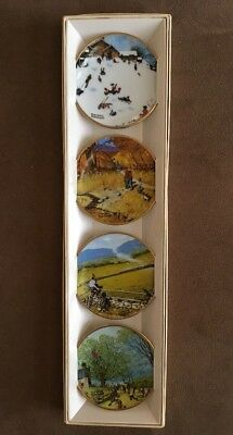The Norman  Rockwell Four Seasons Miniature Plate Collection 1959 Set Of 4