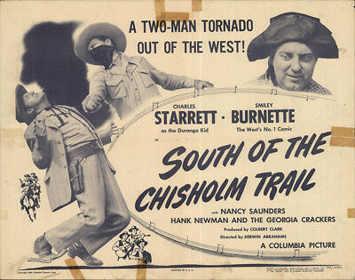 South of the Chisholm Trail 1946 22x28 Orig Movie Poster Charles Starrett Wes...