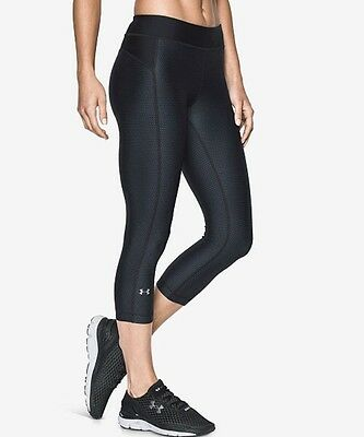 Under Armour Women's HeatGear Printed Cropped Leggings 1297906 Black/Grey Small