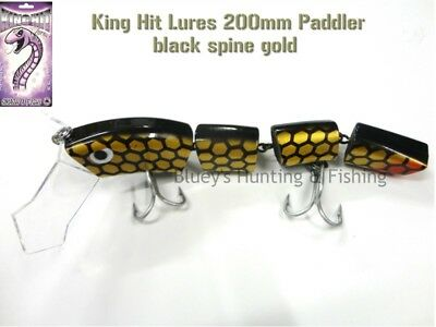 King Hit Lures Paddler 200mm Fishing surface Cod Lure; Black spine gold