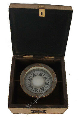 Collectible Gamble Compass Wooden Box Antique REPRODUCTION Brass Finish