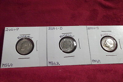 2001-P Mint State / 2001-D Mint State / 2001-S High End Proof Roosevelt Dimes