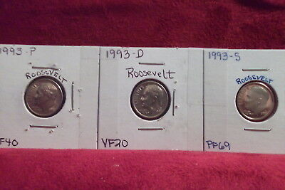 1993-P Extra Fine / 1993-D Very Fine / 1993-S High End Proof Roosevelt Dimes
