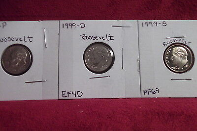 1999-P Almost Unc / 1999-D Extra Fine / 1999-S High End Proof Roosevelt Dimes