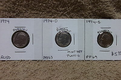 1974-P  Almost Uncirculated / 1974-D Mint State / 1974-S Proof Roosevelt Dimes