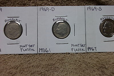 1969-P Mint State / 1969-D Mint State / 1969-S Proof Roosevelt Dimes