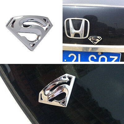 1PC Chrome Superman Logo 3D Metal Auto Car Emblem Badge Bonnet Sticker Decal