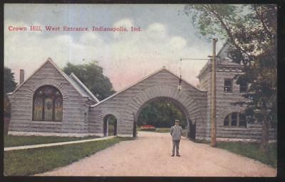 Postcard INDIANAPOLIS Indiana/IN  Crown Hill West Gate Stone Arch 1907