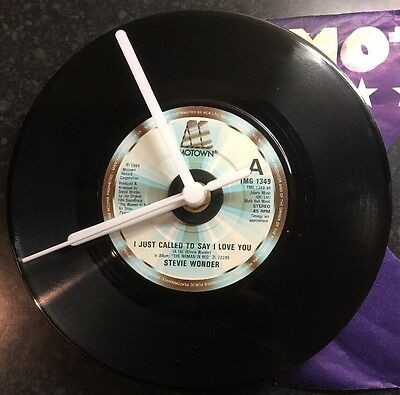 """Stevie Wonder Upcycled Record Clock 7"""" Vinyl I Just Called To Say I Love You 80s"""