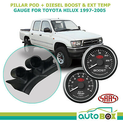 Pillar Pod w/ 0-30 Diesel Boost 0-900 Ext Temp Black Face fit Hilux 1997-2005 TD