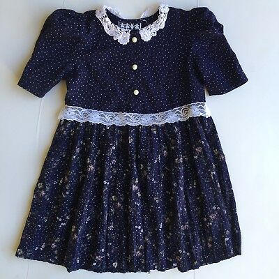 Vintage 1990's Floral Girls Dress Size Range 4T-6 (Tagged 6)