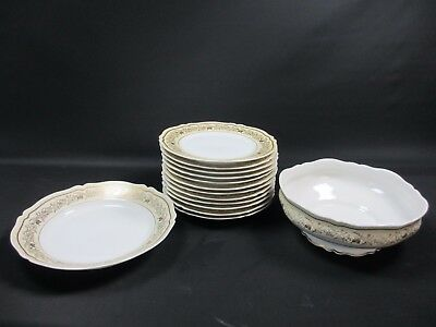 Lot N° 3 12 Assiettes Plates Saladier Grand Plat Service Porcelaine Limoges