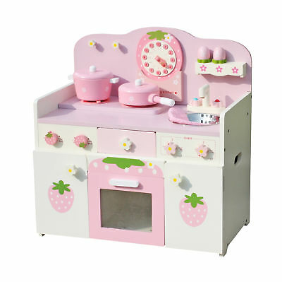 Wooden Kitchen Toy Gourmet Chef Cookware Kids Pretend Play Set With  Accessories