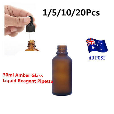 20x30ml Amber Glass Liquid Reagent Pipette Bottle Eye Dropper Drop Aromatherapy