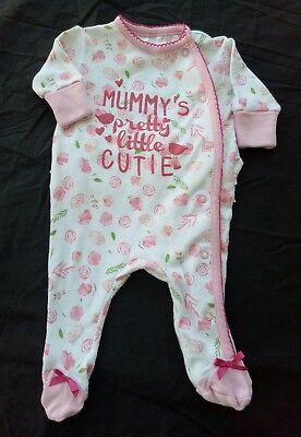 Dymples Baby Girl One Piece Size 0000 White Floral Frill Bottom Footed EUC