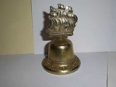 "1 Vintage Brass Bells Ships Handle Engraved "" Mayflower"""