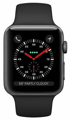 New Apple Watch Series 3 42Mm Space Gray Aluminum Case Black Sport Band Gps