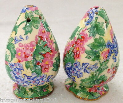 ♡ Royal Winton  Chintz ' Summerset ' Salt & Pepper Shakers Rocket Shape
