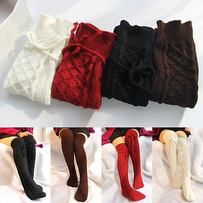 Womens Cable Knit Over knee Long Boot Winter Warm Thigh-High Soft Socks Leggings