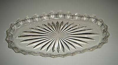 Oval Star Tray Depression Glass by Crown Crystal No.1718 Sandwich Cake * Vintage