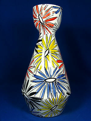 Colourful , handpainted art pottery vase / farbenfrohe Keramikvase / Italy 30 cm