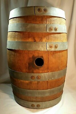 VINTAGE small 17 INCH  WOOD BARREL WHISKEY GROG ALE BEER WINE - VG CONDITION !