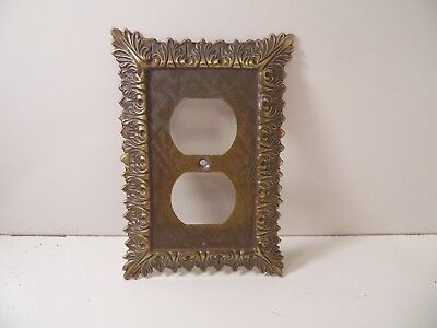 Vintage Decorative Brass Receptacle Wall Plate