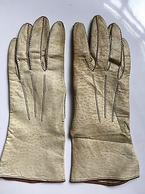 Vintage unlined 1940s cream womens gloves with brown trim & stitching 26cms long