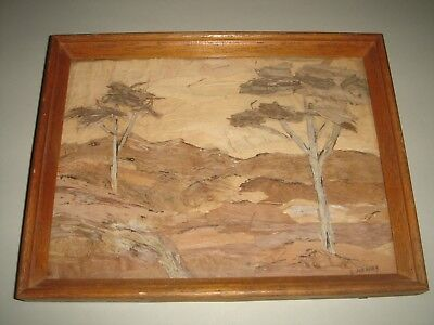 Bark Picture Australian Folk Art Framed Landscape Trees Valley - Vintage