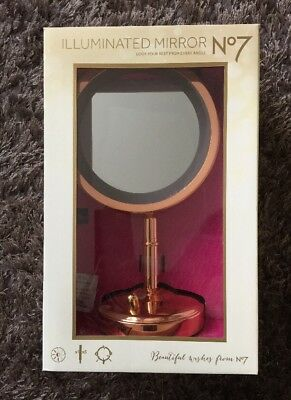 BOOTS No7 ROSE GOLD ILLUMINATED MIRROR LTD EDITION DIMMER LIGHT & MAGNIFY 2017
