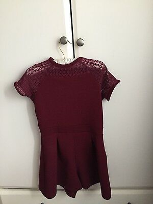 Girls Candy Couture Burgundy Playsuit