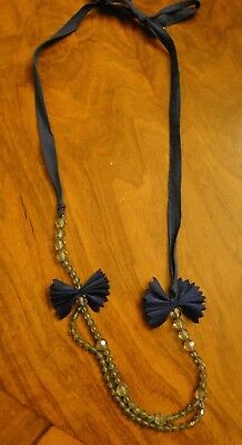 J CREW CREWCUTS Blue Ribbon Tie Bow and Bead Necklace - VGUC