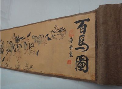 """Chinese Ancient picture silk paper """"100 horse """" Scroll painting 百马图"""