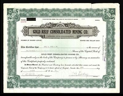 Gold Reef Consolitated Mining 1933