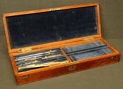 1800's ANTIQUE Vintage BRASS ARCHITECT DRAFTING TOOL Set in WOOD BOX w/ TRAY