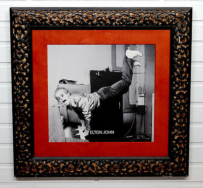 Vintage ELTON JOHN High Quality FRAMED PHOTOGRAPH in ITALIAN WOOD FRAME Display