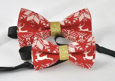 Father Son Match 100% Cotton Xmas Christmas Elk Deer Red Bow Tie Bowtie