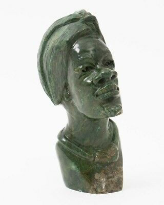"""Verdite Green Shona Stone Bust of African Man in a Cap Hand Carved 6"""" T x 2.5"""" W"""