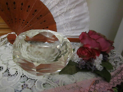 Vintage CLEAR Lead Cut Crystal Glass Ashtray  Gorgeous Faceted Sides