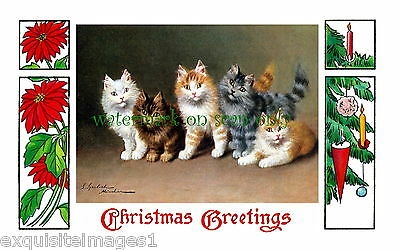 Antique Christmas Art~Poinsettias~Ornament~Kitty Cats~Sperlich NEW Lg Note Cards
