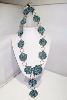 Turquoise 13 Concho Belt Zuni Sterling Silver Needlepoint Pettipoint Necklace