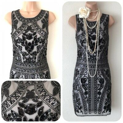 NWT Sequin Beaded Embellished Flapper 20's Gatsby Party Dress Evening 8 10 Deco