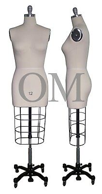 Professional Female Mannequin Dress Form, W/ Heavy Rolling Base, Size 12 (ncs 12