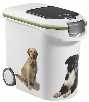 Petlife Dog Food Storage Container Bin with Wheels Hermetically Sealed White