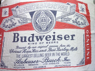 Vintage Budweiser Spell Out Beach Towel Promo Full Label Bud Beer Anheuser Busch