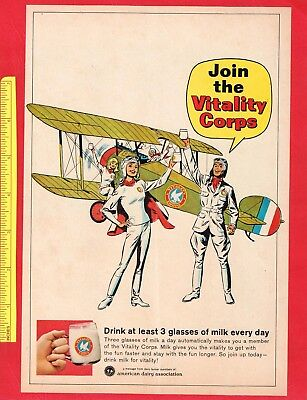 "Vintage 1966 AMERICAN DAIRY ASSOCIATION Ad: ""Join The Vitality Corps"", 7.25x10.5"