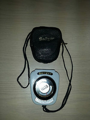 "Vintage ""Soligor Auto"" Light Meter + Leather Case WORKS"