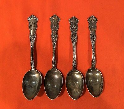 Vintage The American Silver Co International Silver Coat of Arms Spoons Set of 4