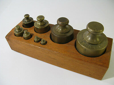 Set of 8 Antique Metric European Weights Used in Trade.