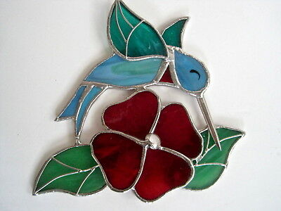 Stained Glass Hummingbird Sun Catcher With Red Flower